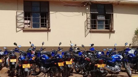 Police distributes new motorcycles for elections in Kampala.